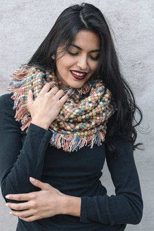 Multicolor Loom Woven Frayed Edge Infinity Scarf
