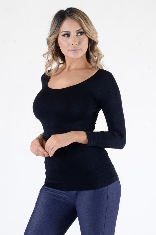 Seamless Long Sleeve Scoop Neck Top