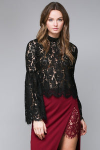 Black Mock Neck Lace Top