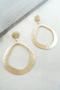 Rose Gold Hammered Hoop Earring