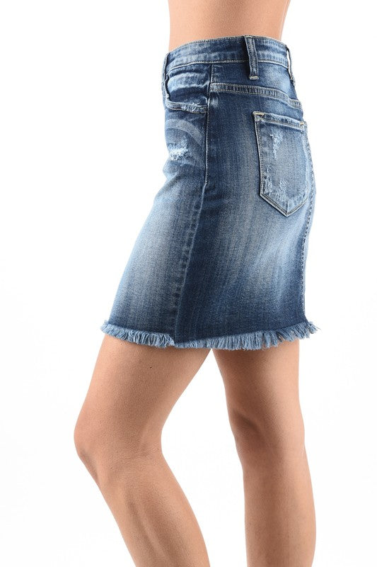 Kan Can Button Down Denim Skirt