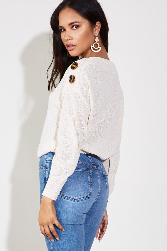 Cream Button Shoulder Top