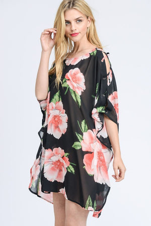 FLORAL PRINT CHIFFON COVER-UP TUNIC