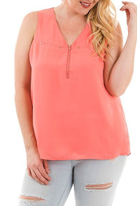 Coral Zipper Front Tank