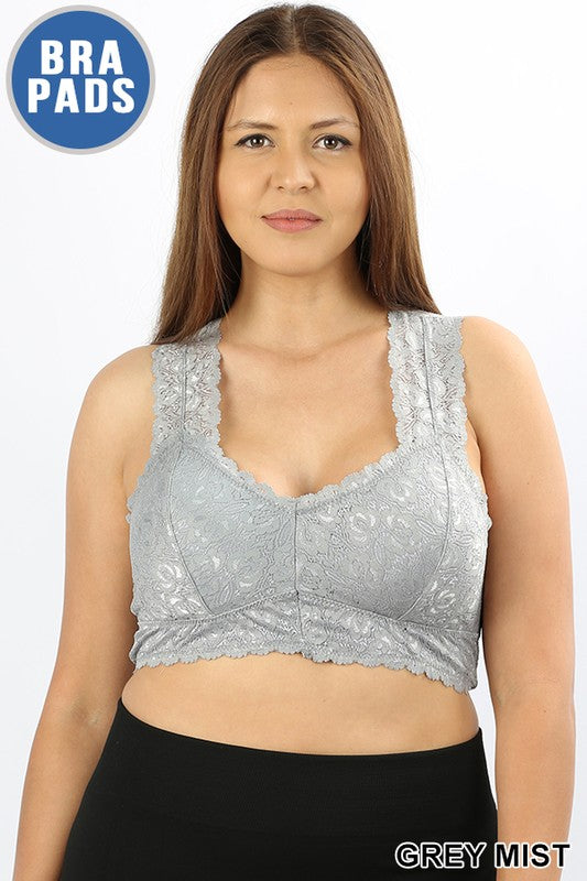 Plus Grey Mist Lace Bralette