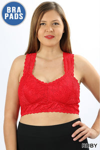 Plus Red Lace Bralette