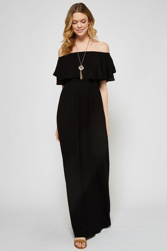 Black Ruffle Off Shoulder Maxi