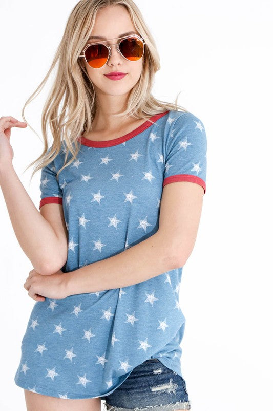 Washed Star Ringer Tee