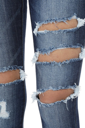 Distressed Thigh Mid-rise Kan Can