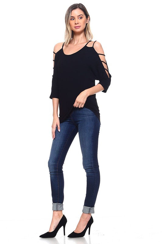 Black Cage Sleeve Top