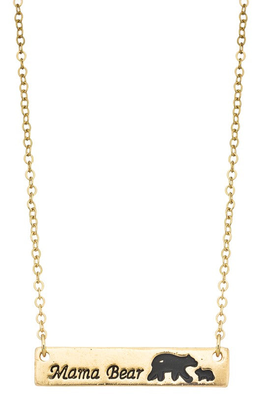 Gold Mama Bear Necklace
