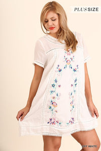White A-Line Floral Embroidery Dress Plus