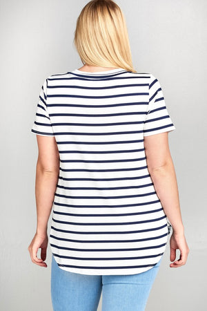 Plus Size Criss-Crossed Stripe Top