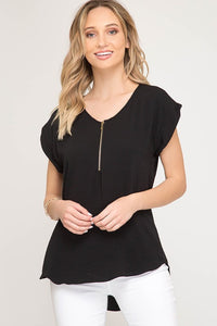Black Zipper Blouse