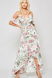 Floral Ruffled Layer Wrap Woven Maxi Dress