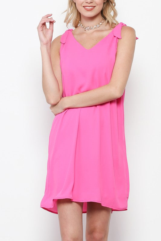 Neon Pink Bow French Terry Shift Dress