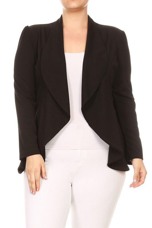 Plus Draped Front Fitted Stretchy Blazer