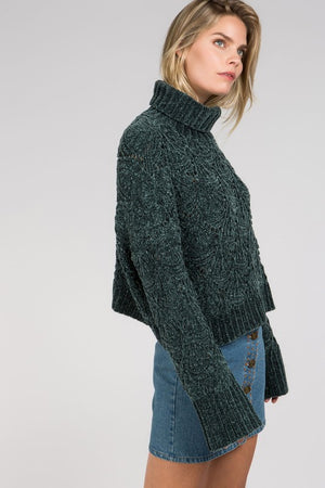 Dark Green Cropped Eyelet Cutout Turtleneck Sweater