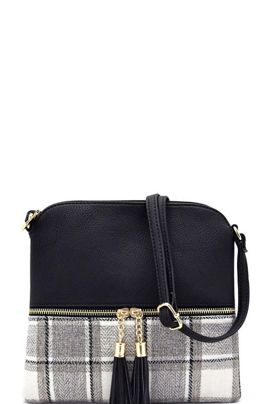 Plaid Crossbody Faux Leather Tassel Pull