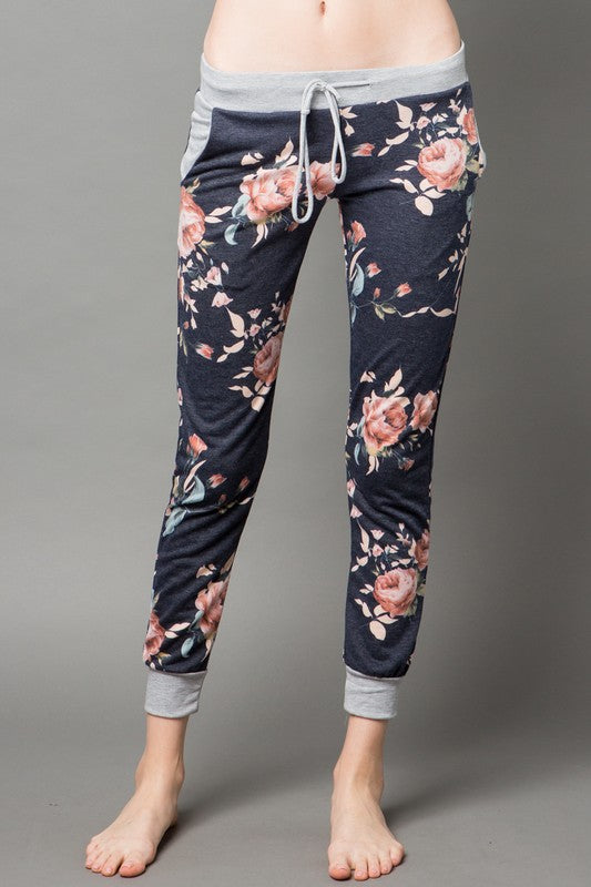 Navy Floral Jogger