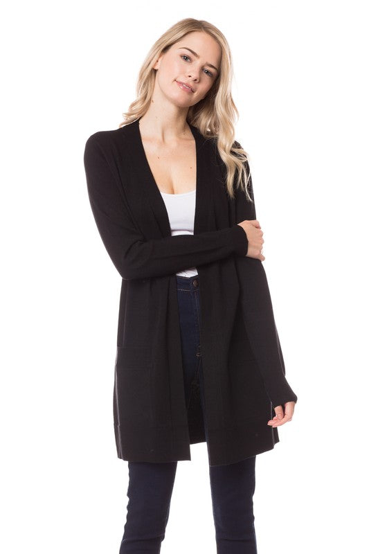 Open Front Knit Cardigan W/Pockets