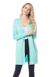 Mint Open Front Cardigan