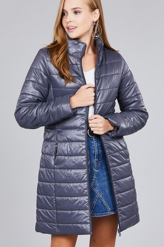 Dark Grey Long Quilted Down Coat
