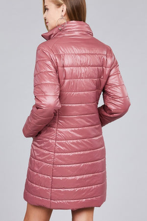 Mauve Long Quilted Down Coat