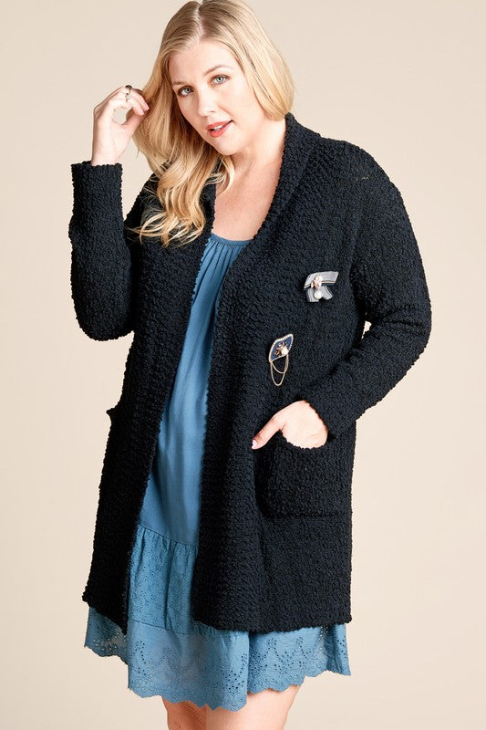 Plus Black Popcorn Cardigan
