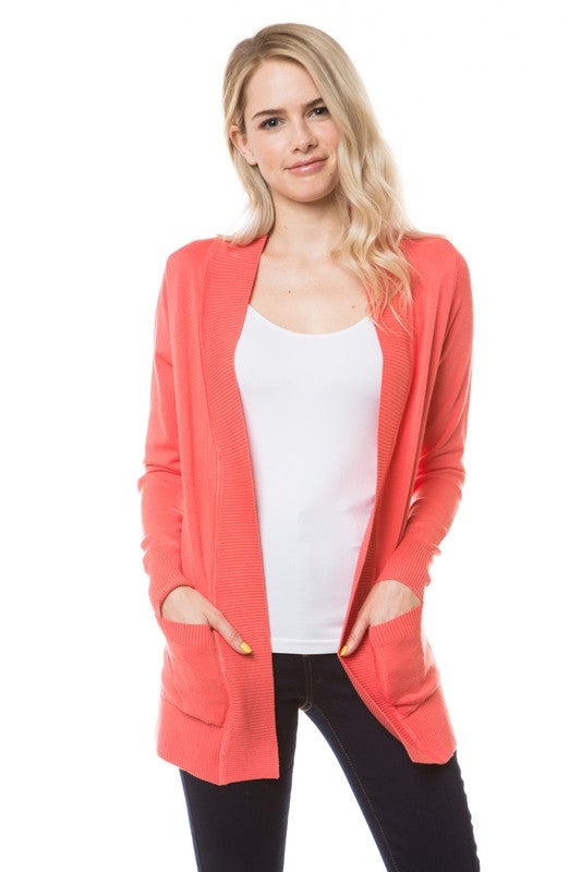 Orange Open Cardigan With Pockets