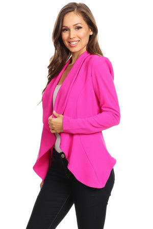 Draped Front Fitted Stretchy Blazer