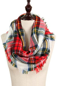 White Plaid Infinity Scarf