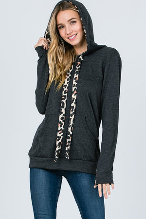 Leopard Tie Hooded Sweatshirt