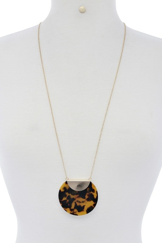 Brown Leopard Disc Pendant