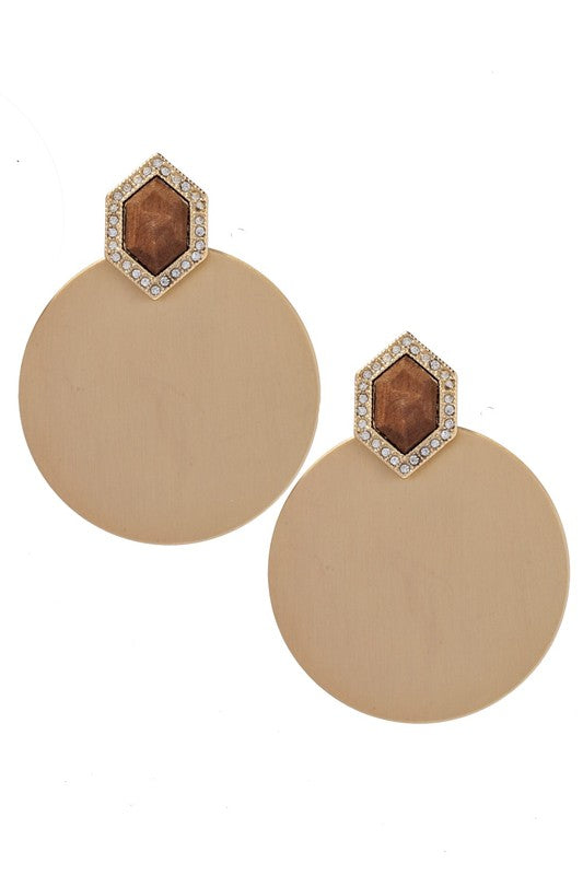 Brown Rhinestone Disc Dangle Earring