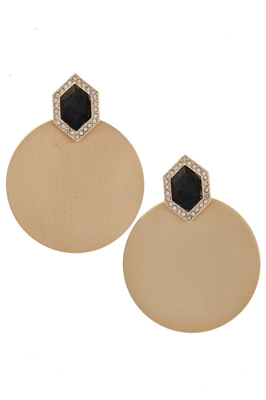 Black Rhinestone Disc Dangle Earring
