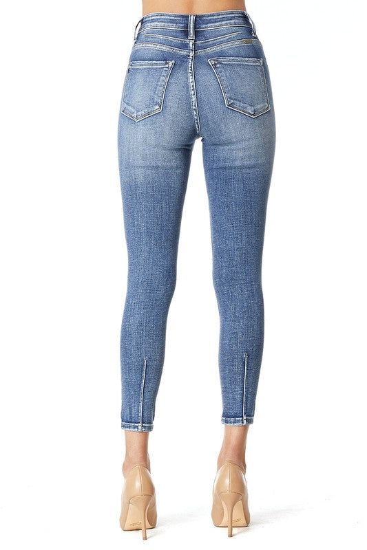 High Rise Super Skinny Back Ankle Seam Kan Cans
