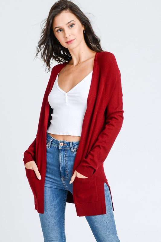Burgundy Cardigan W/Pockets