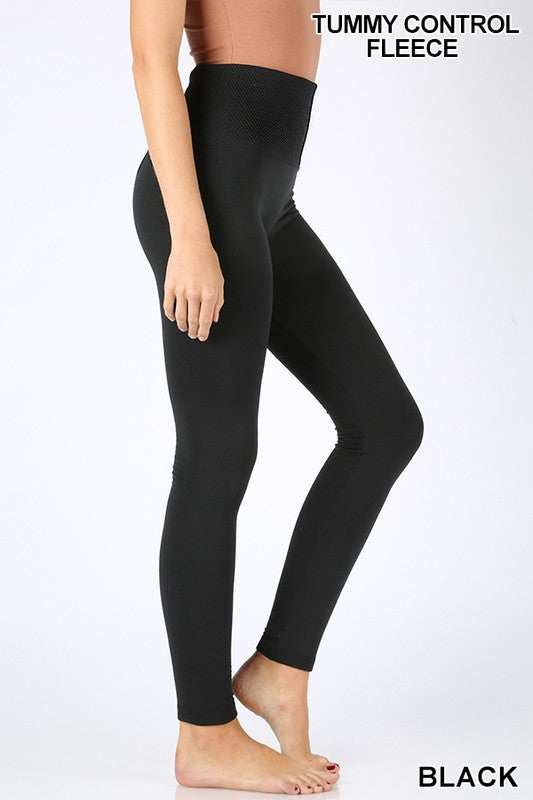 BLACK HIGH WAIST DIAMOND SHAPE BAND FLEECE LEGGINGS