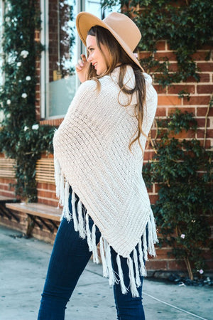 Ivory Cable Turtleneck Poncho