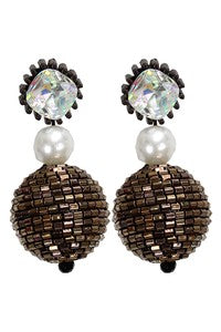 Bronze Crystal Bead Ball Earring