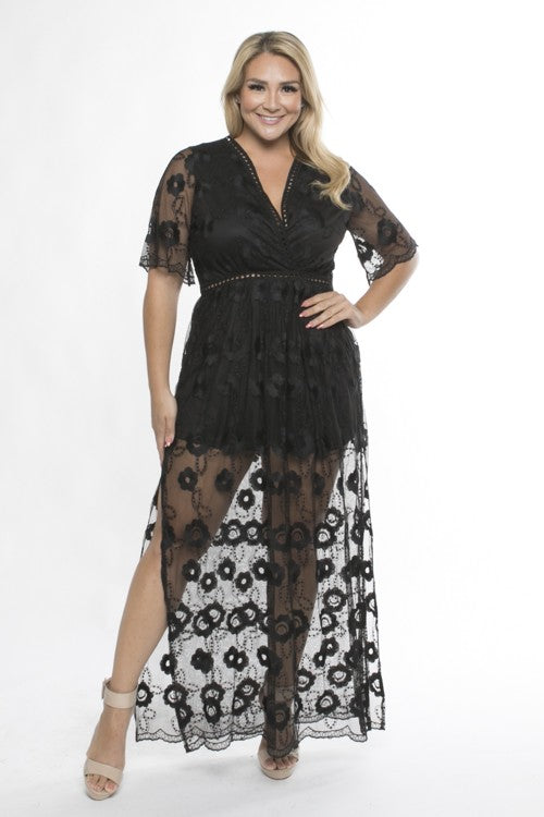 Black Embroidered Mesh Maxi Dress