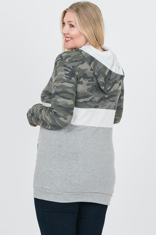 Plus Camo Color Block Hoodie