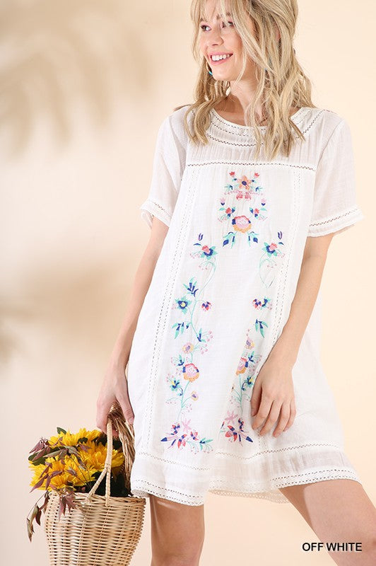 White A-Line Floral Embroidery Dress