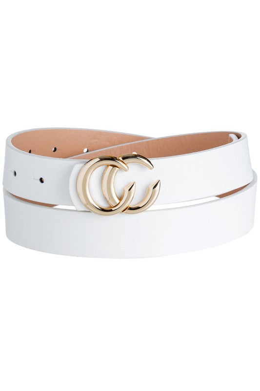 White Double CC Skinny Belt