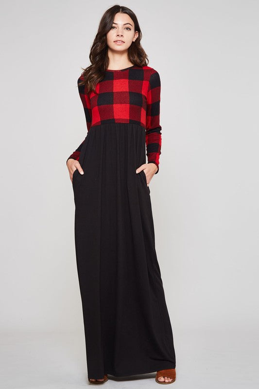 Buffalo Plaid Maxi Dress