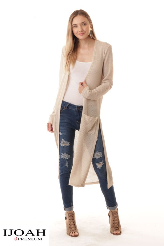 Natural Long Sleeve Front Pocket Cardigan