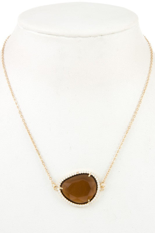 Brown Rhinestone Framed Necklace