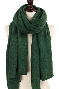 Green Oblong Soft Knit Scarf