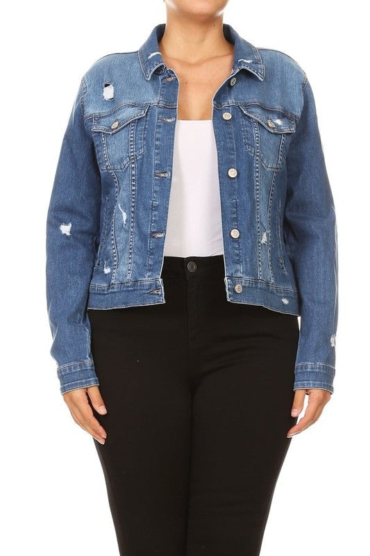 Plus Distressed Denim Jacket